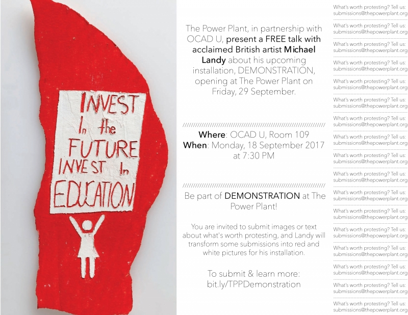 poster for public talk, red background, primative white image of person holding a sign