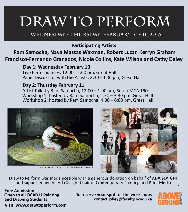 poster for Draw to Perform, including dates and times of events and images of performances