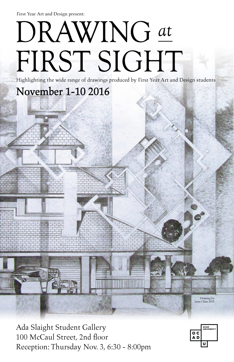 Drawing at First Sight poster with event info with black & white drawing of house