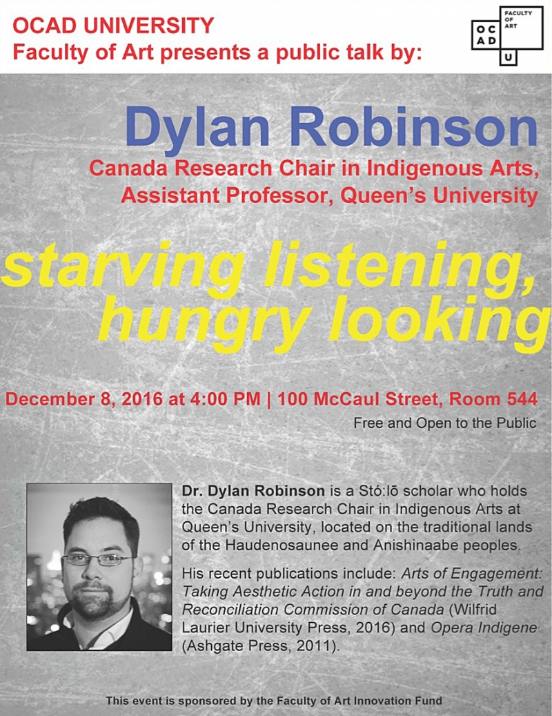 starving listening, hungry looking, a public talk by: Dylan Robinson_poster with text and headshot of Dylan Robinson