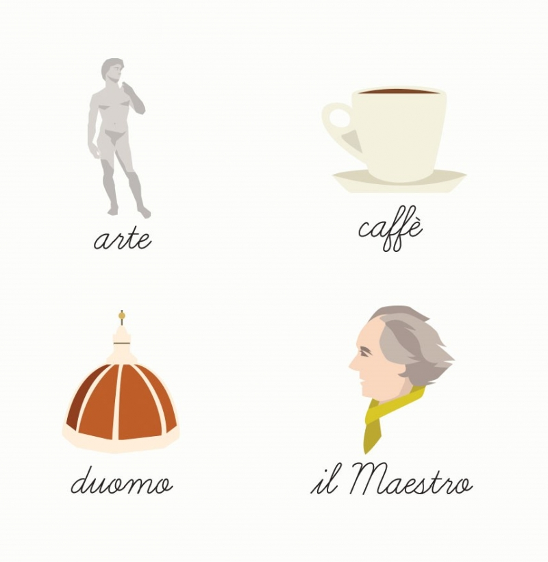 Illustrations of Michaelangelo's David, a cup of coffee, a domed cathedral and a man in a scarf
