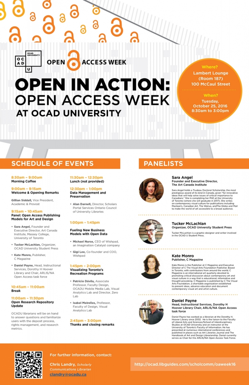 Open in Action: Open Access Week at OCAD University event poster