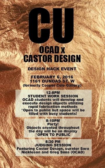 CU OCAD X Castor Design Hack Event poster with event info