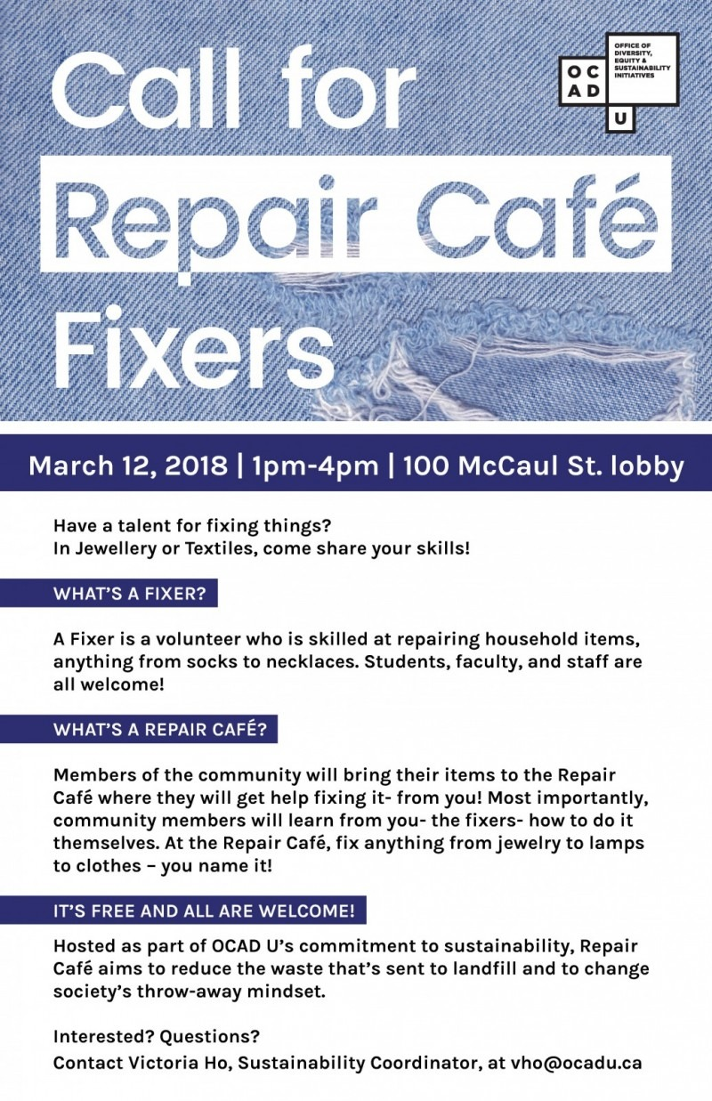 OCAD U Repair Cafe 2019 call for volunteer fixers