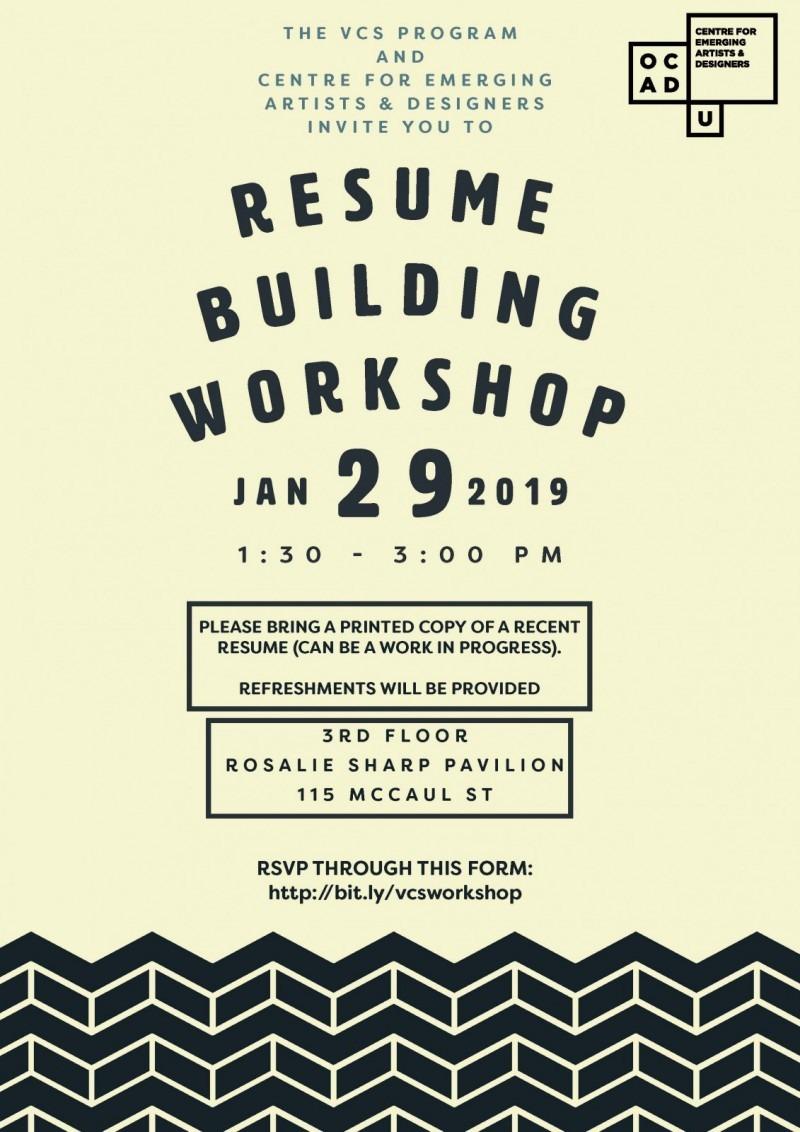 """Resume Building Workshop Jan 29 2019, 1:30pm - 3:00pm"""