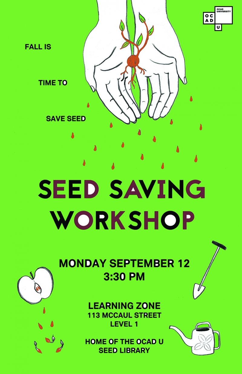 Fall is Time to Save Seed poster with illustration of hands holding a seedling