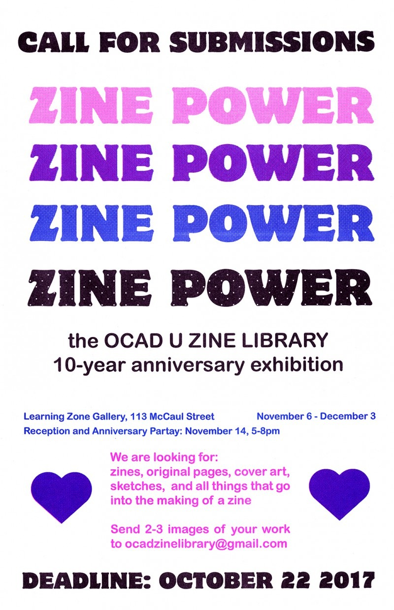 Risograph poster with text from event description and two hearts for decoration.