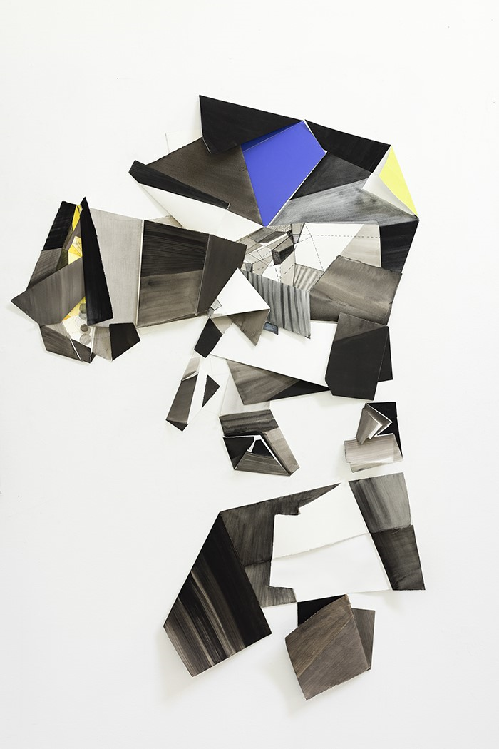 black, grey, white and blue geometric shapes, works on paper