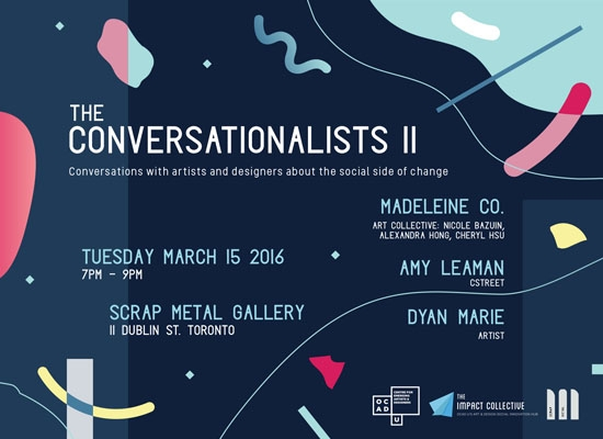 Poster for the Conversationalists II, blue BG with random shapes