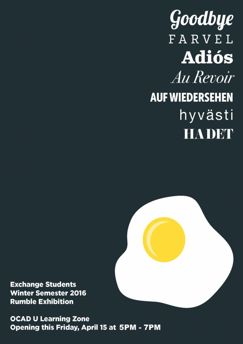 Exhibition poster with event info, picture of egg yolk and the word goodbye in multiple languages