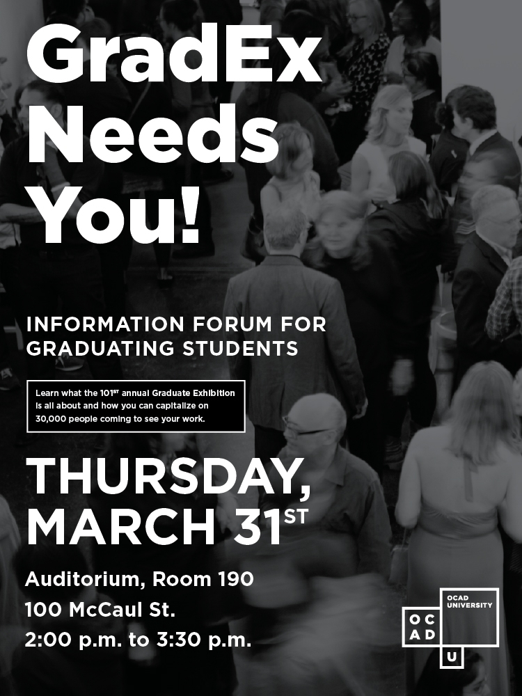 GradEx Needs You! poster with event info and photo of GradEx attendees