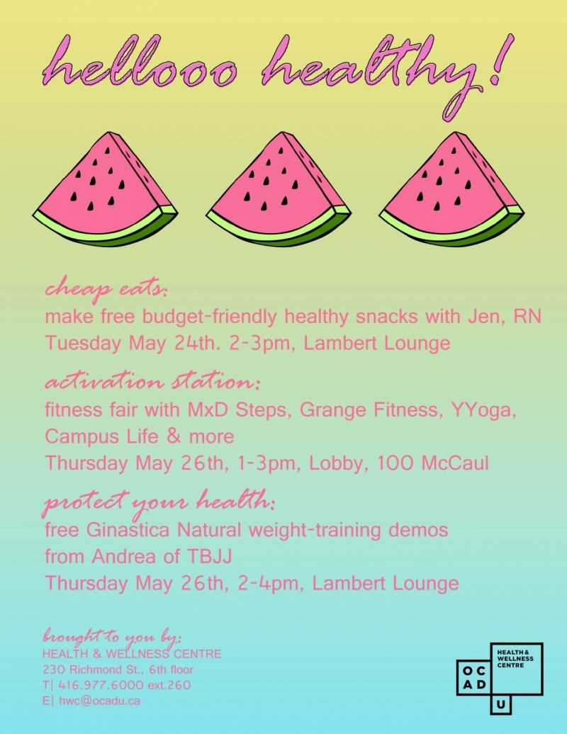 hello healthy! poster with event info and watermelon slices
