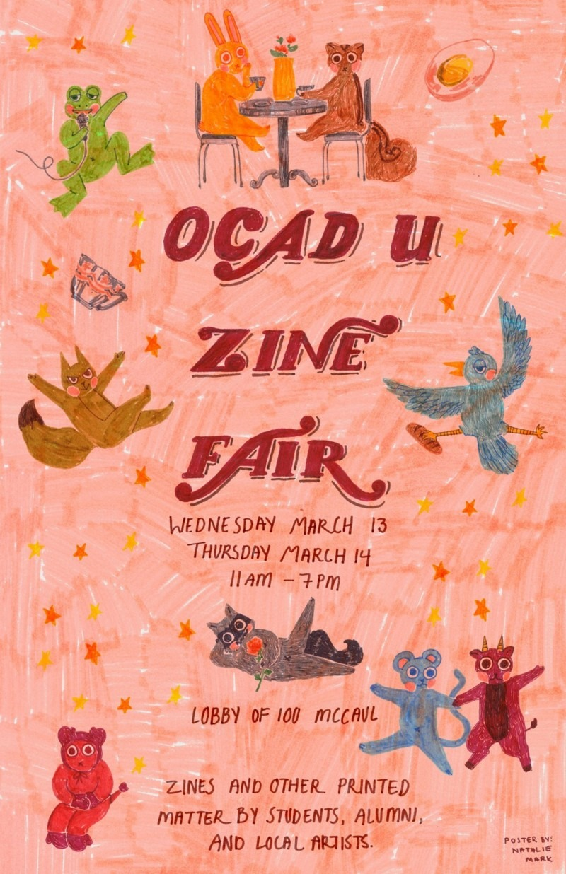 Drawings of cute animals floating around OCAD U Zine Fair text