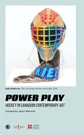 poster for power play exhibition, features a graphic of a hockey face mask