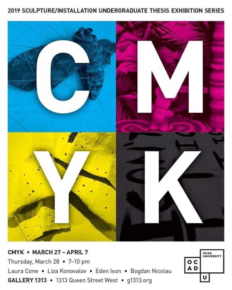 four coloured squares with cmyk