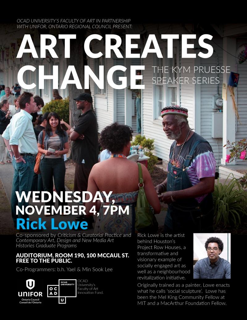 ART CREATES CHANGE The Kym Pruesse Speaker Series poster
