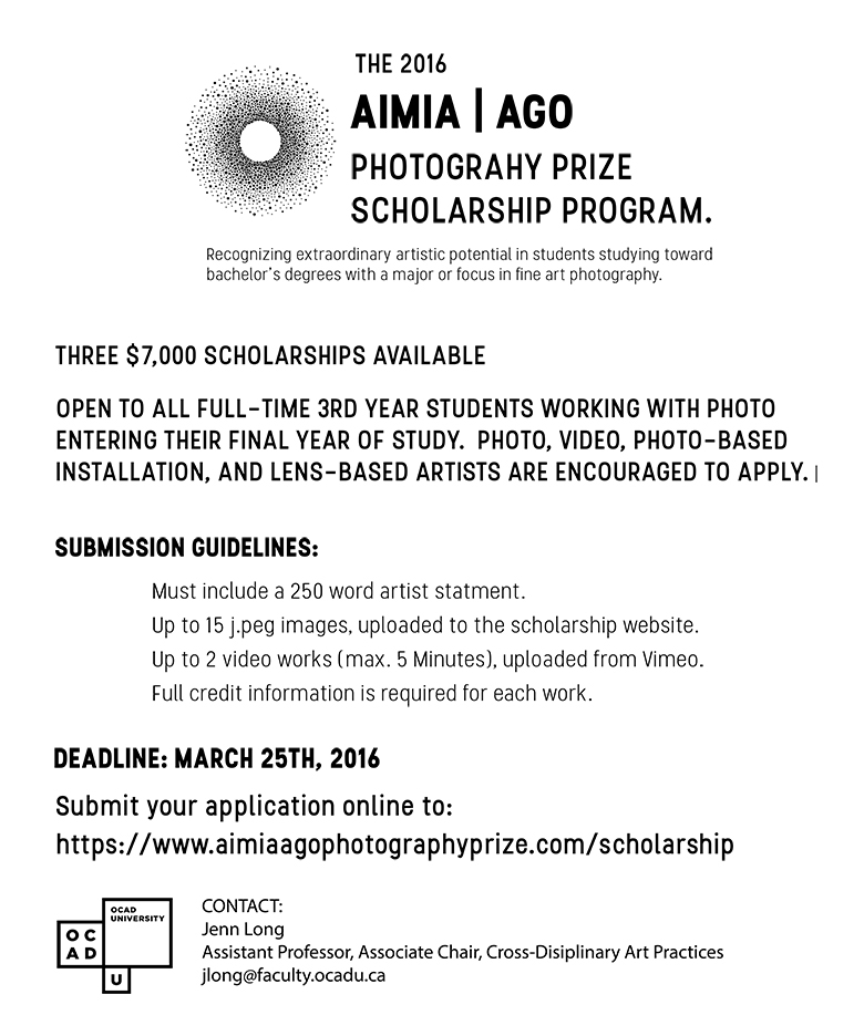 poster for the AIMIAAGO Scholarship, text on white Background