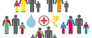 Illustrated CleanCube banner featuring several families surrouding a water drop, medical symbol and