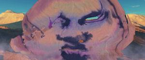 Digital illustration of a distorted face