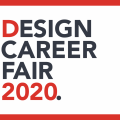 White box with red line frame. Text Design Career Fair 2020 sponsored by Scotiabank with date details