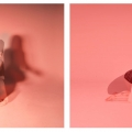 Two images of a woman on a pink background