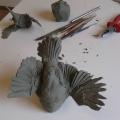 In-progress bird sculpture by David Constantino Salazar