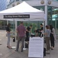 A photograph of the OCAD University survey booth on King Street