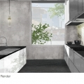 Rendering of a kitchen of Path House concept