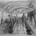 graphite image of humans in corridor