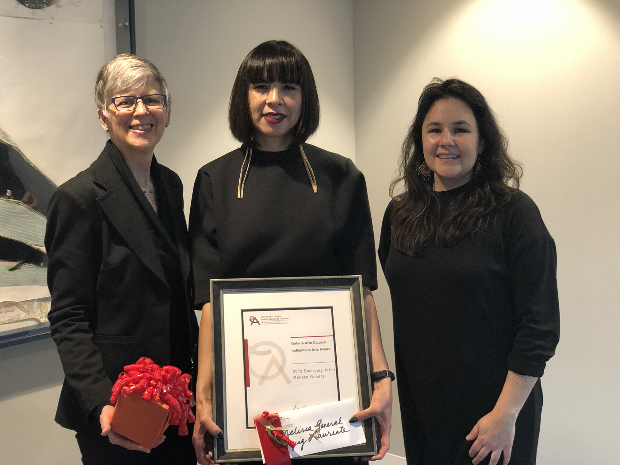 Carolyn Gloude, Awards Officer, Ontario Arts Council, Melissa General and Erika Iserhoff, Indigenous Culture Fund Grants Facilit