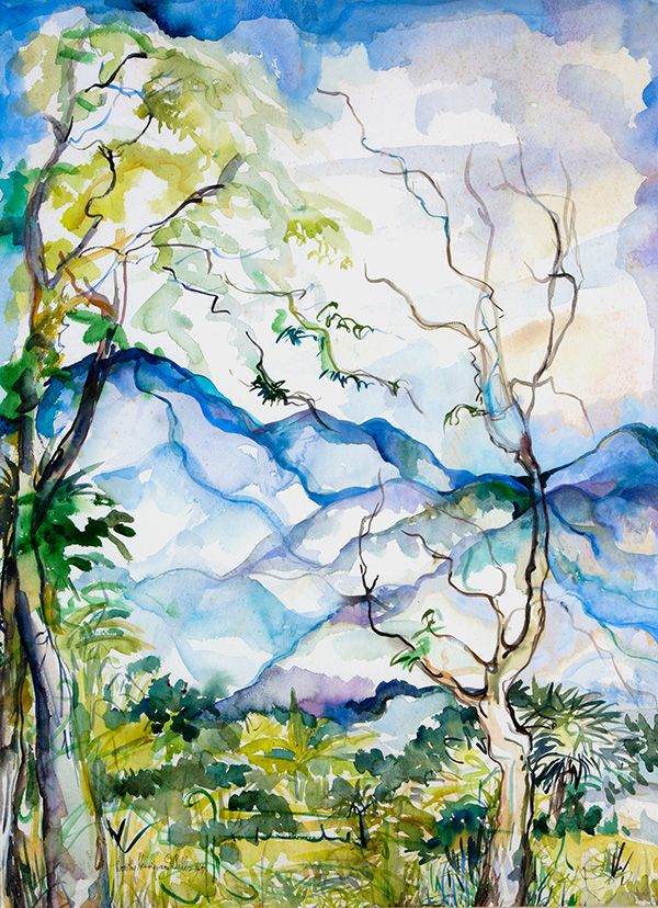 watercolour of trees and mountains