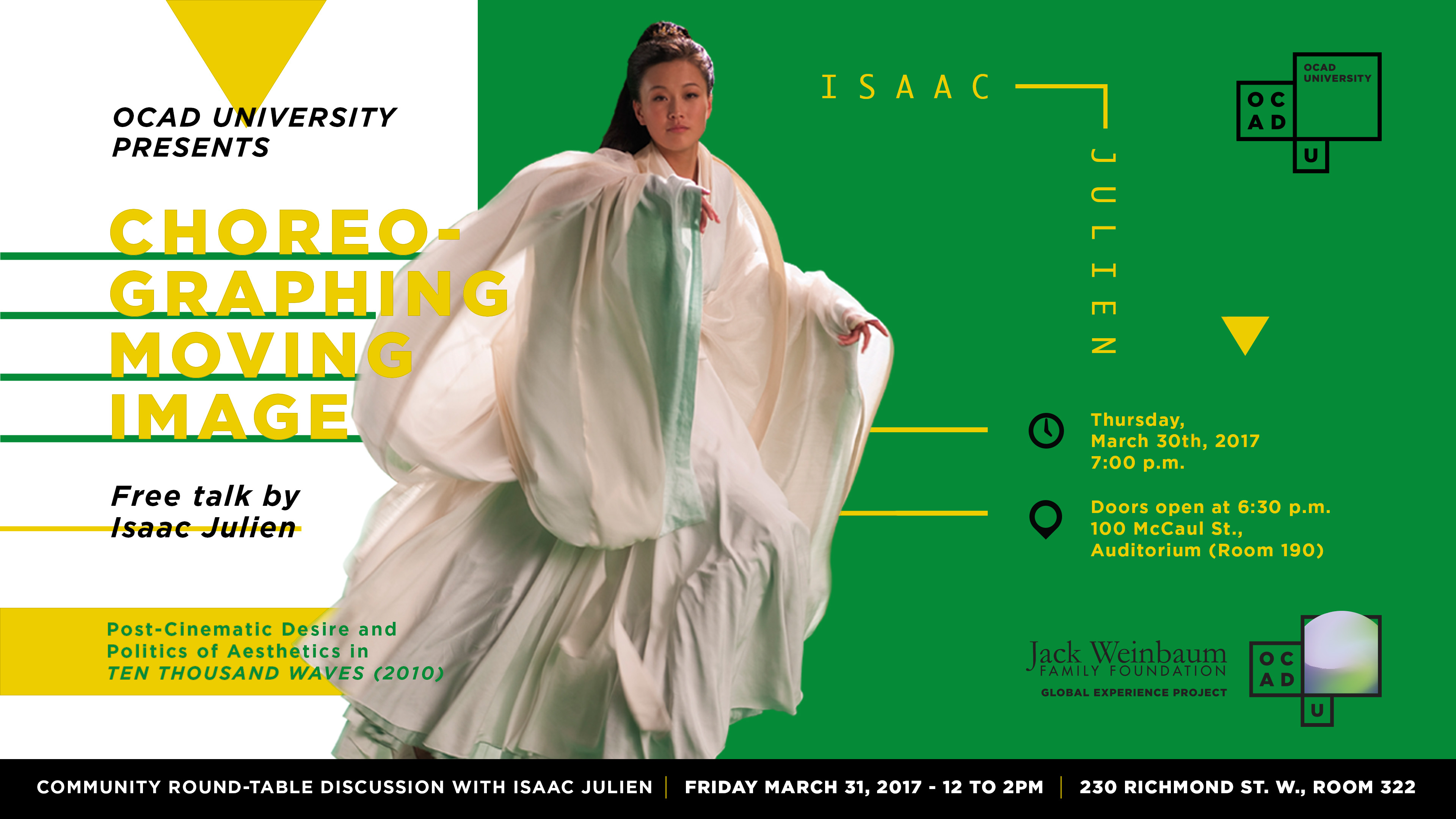 OCAD U presents Choreographing Moving Image poster with event info and photograph of woman in large flowing garment