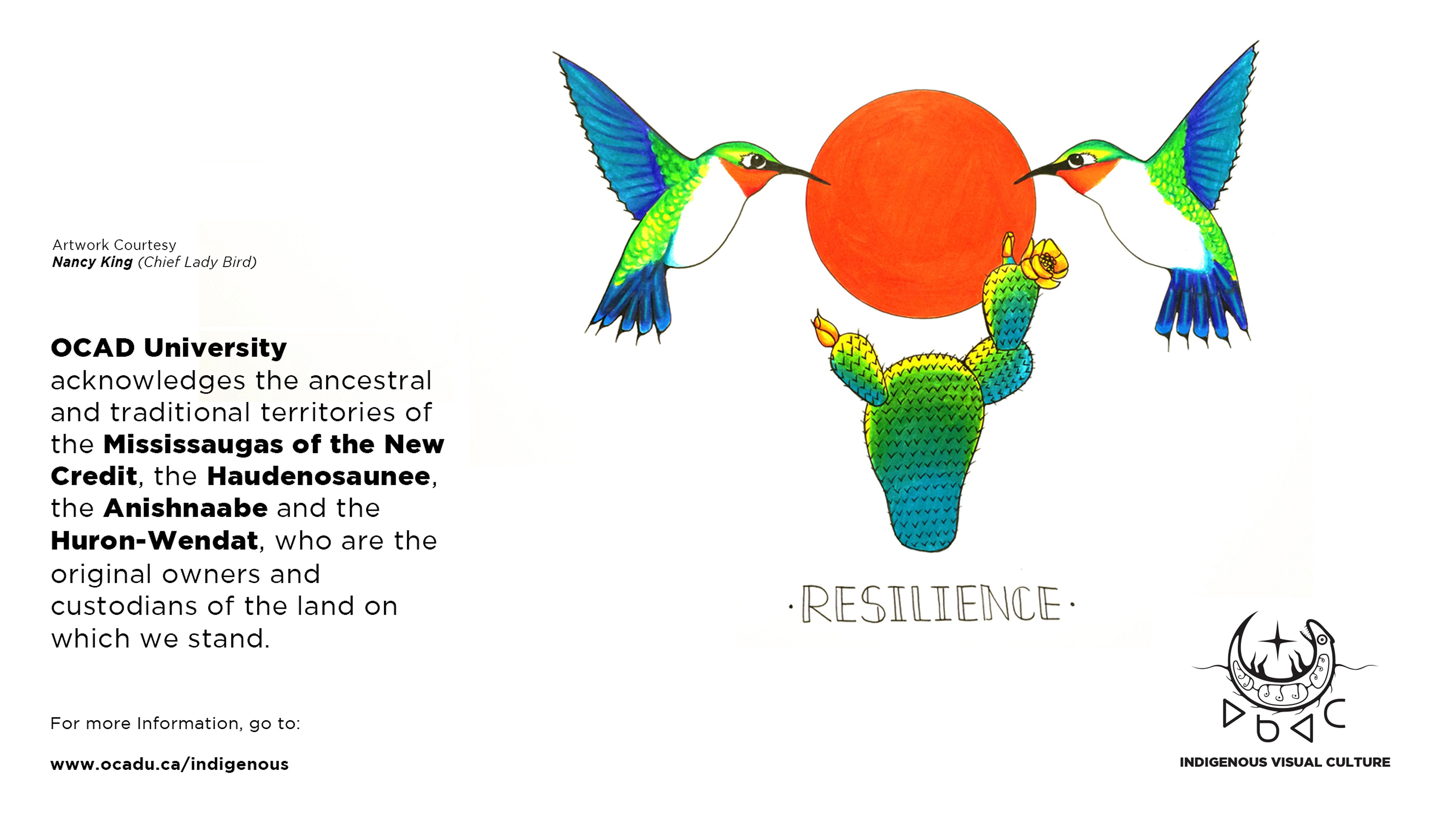 """OCAD U's Indigenous Land Acknowledgement poster with drawing of hummingbirds, sun and cactus with the word """"Resilience"""""""