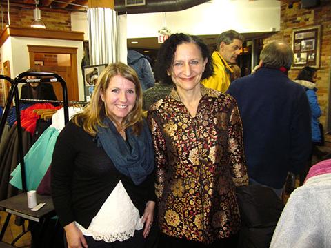 Patagonia store manager Andrea Reeks with OCAD U President Sara Diamond.