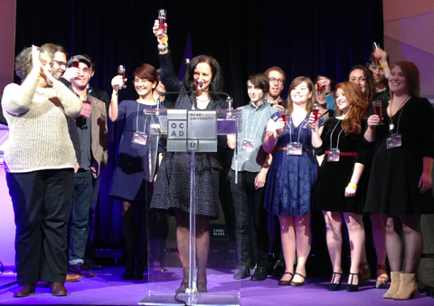 Dr. Sara Diamond celebrates with the 2014 medal winners. Photo by Christine Crosbie.