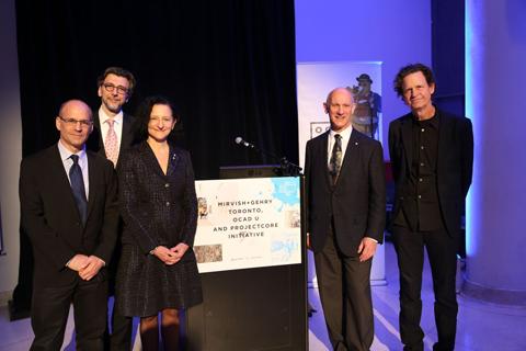 Peter Kofman, Vladimir Spicanovic, Dr. Sara Diamond, David Mirvish and Craig Webb, Photo: Martin Iskander