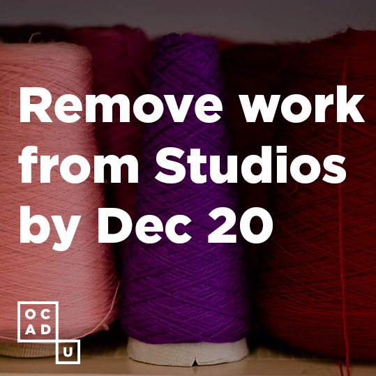 Remove work from Studios by December 20