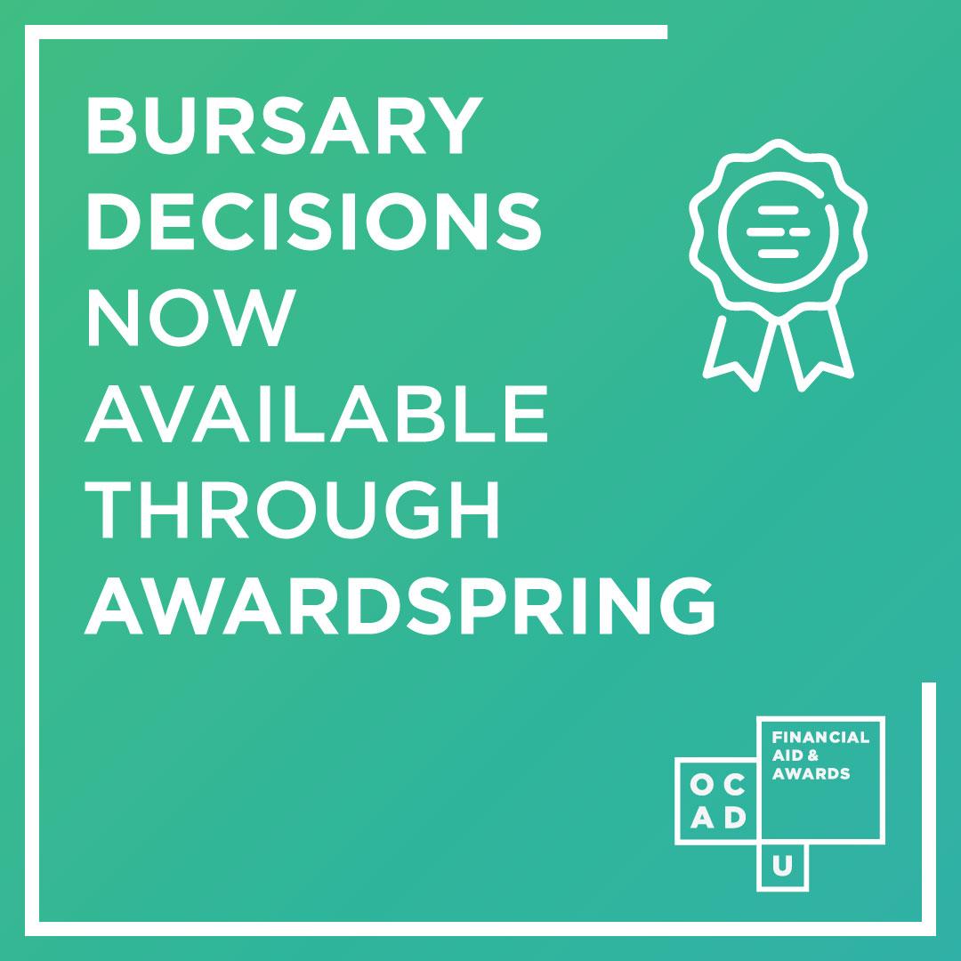 Bursary Decisoins Now Available Through AwardSpring