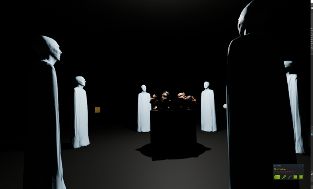 Image from VR screen capture: white humanoid figures surround a kneeling individual