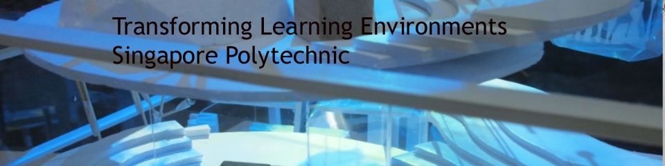 Abstract blue shapes with overlaid text reading: Transforming Learning Environments Singapore Polytechnic