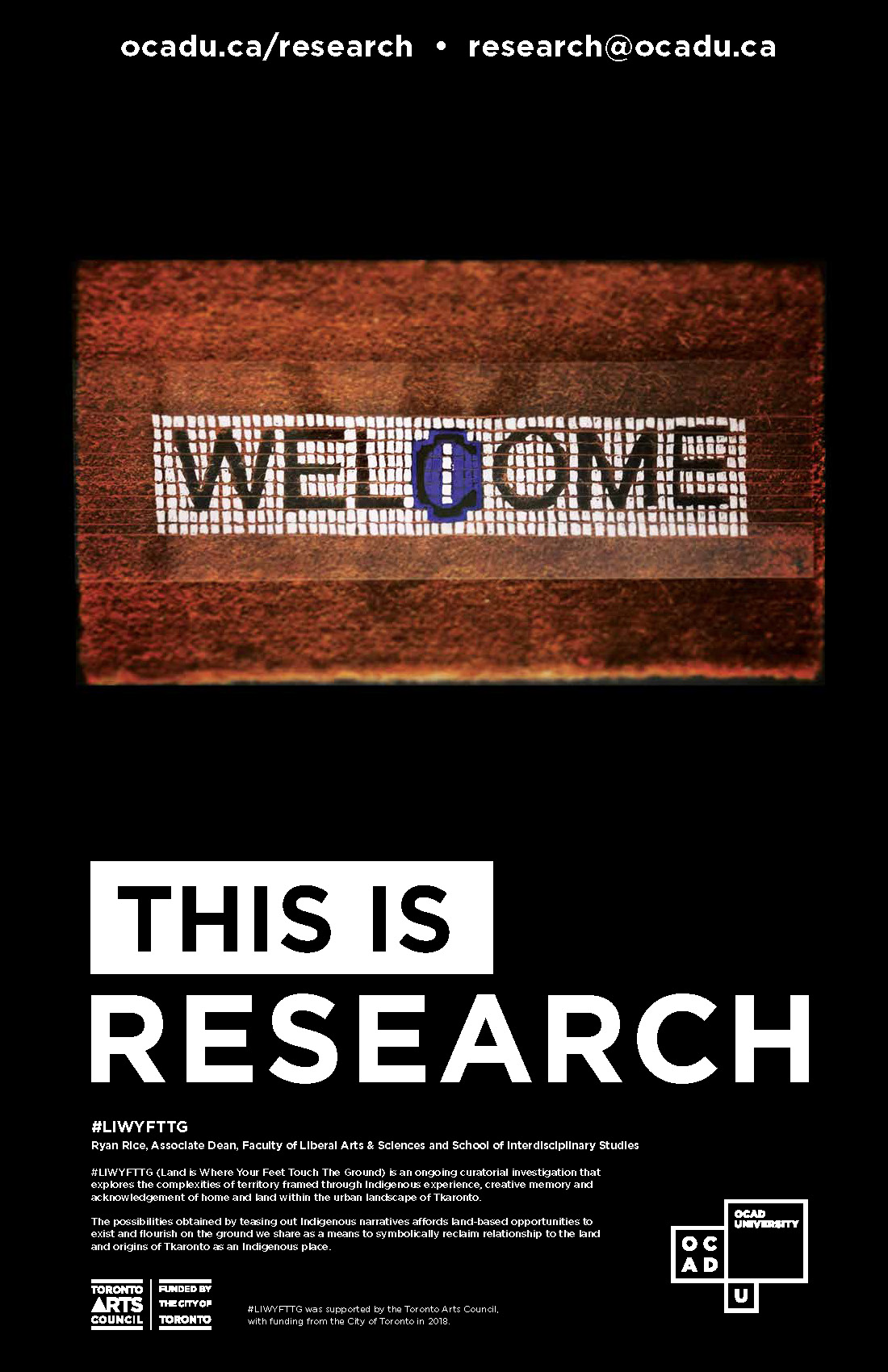This is Research-full poster. Image features an art piece, a welcome mat, against a black background.
