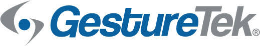 Gesturetek corporate logo: blue text on a white background