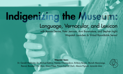 A poster for the Indigenizing the Museum event. Black text on a background photograph of hands holding a bird sculpture