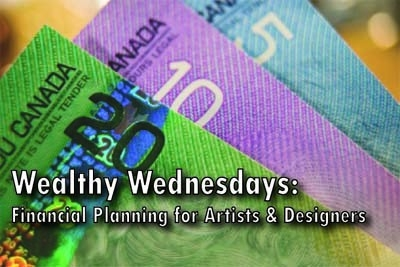 Wealthy Wednesday Event Poster with an image of money in the background