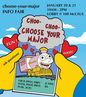 Choo- Choo- Choose your Major poster, featuring a cartoon card with a train on it (from the Simpsons)