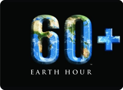 Earth hour logo with a globe formed into the number 60