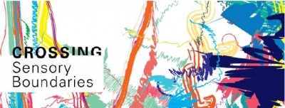 Poster for Crossing Sensory Boundaries, with an abstract colourful background