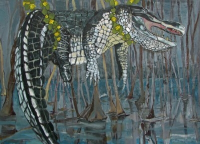 Painting of an alligator hanging from vines.