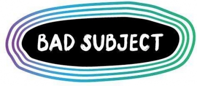 Logo with the words Bad Subject in a black oval surrounded by blue lines