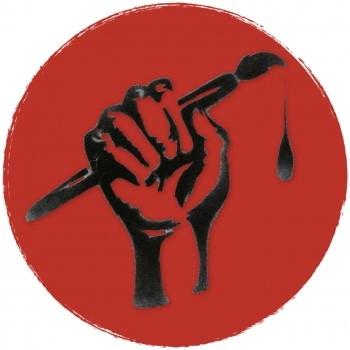 red circle with illustration of a hand gripping a dripping paintbrush